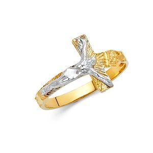 14K Yellow Gold White Gold Religious Cross Ring